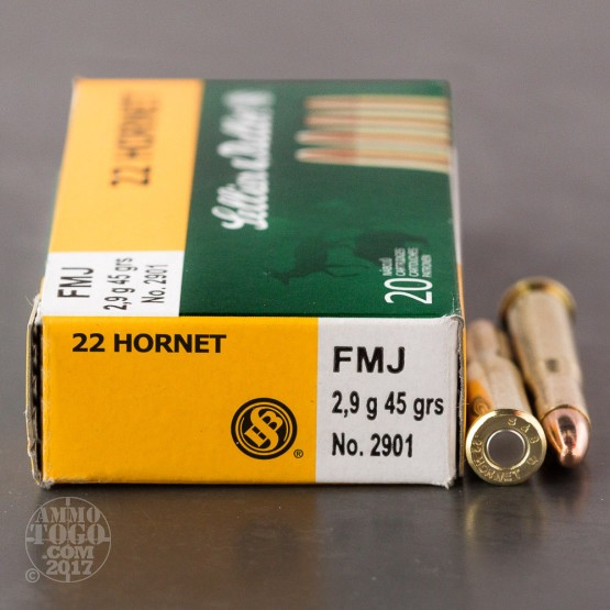 20rds - 22 Hornet Sellier & Bellot 45gr. Full Metal Jacket Ammo