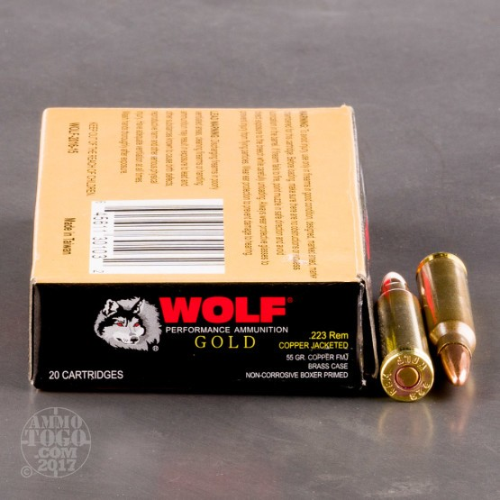 20rds - 223 Rem Wolf Gold 55gr. FMJ Ammo