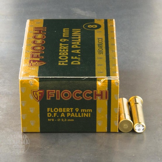 "50rds - 9mm Rimfire Flobert Fiocchi 1 3/4"" 1/4oz. #8 Shot Ammo"