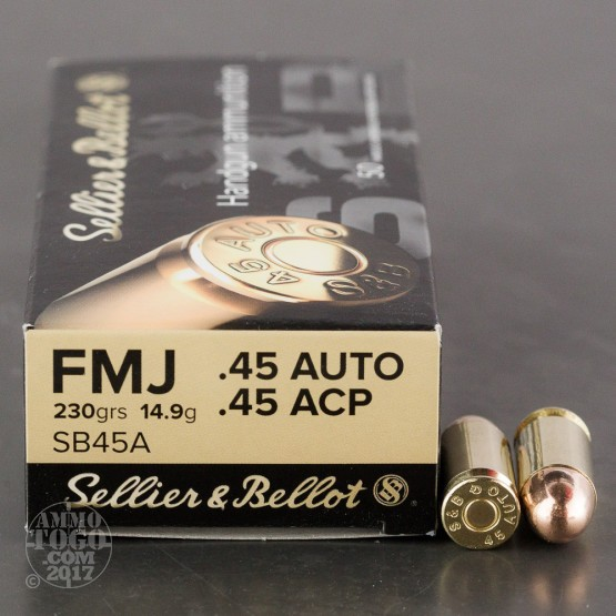 50rds - 45 ACP Sellier & Bellot 230gr. FMJ Ammo