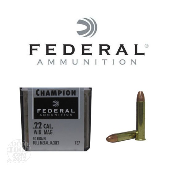 50rds - 22 Mag Federal Champion 40gr. FMJ Ammo