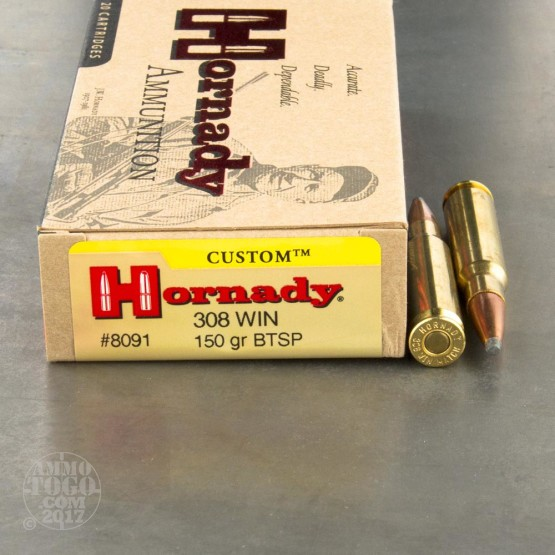 20rds - 308 Win. Hornady 150gr. Boattail Soft Point Ammo