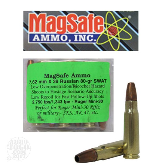 6rds - 7.62x39 Russian Magsafe 80gr. SWAT