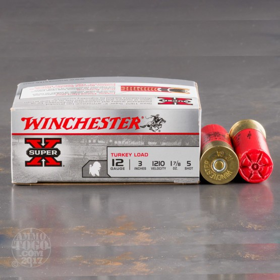 "100rds - 12 Gauge Winchester Super-X 3""  1 7/8oz.  #5 Turkey Load"