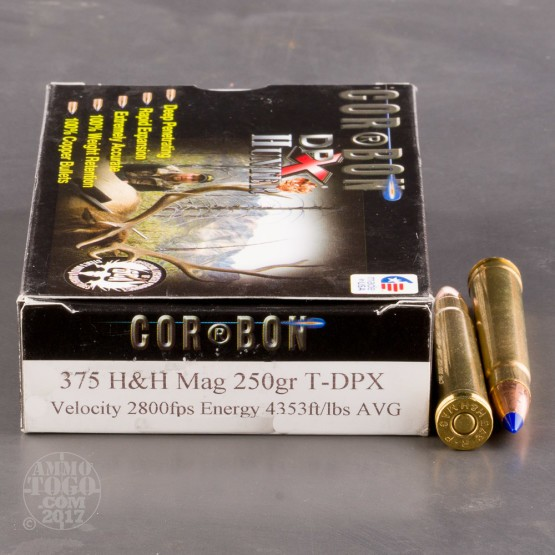 20rds - 375 H&H Mag Corbon DPX Hunter 250gr T-DPX Hollow Point Ammo
