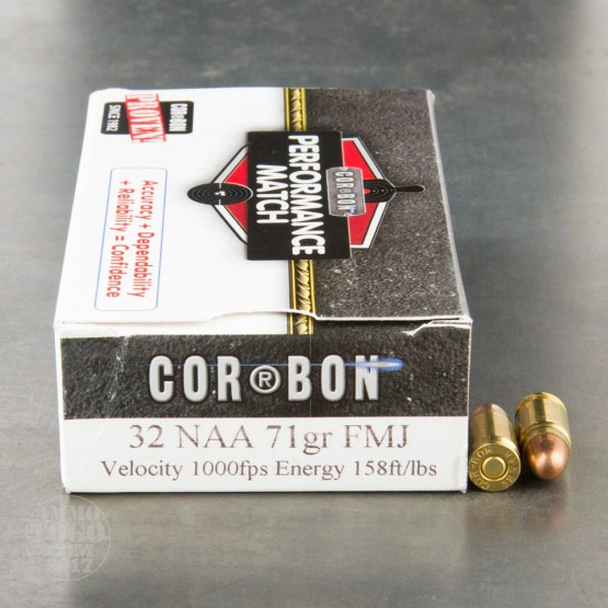 50rds - 32 NAA Corbon 71gr. Performance Match FMJ Ammo