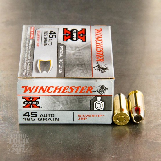 20rds - 45 ACP Winchester Super-X 185gr. Silver Tip Hollow Point Ammo