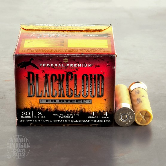 "25rds - 20 Ga. Federal Blackcloud 3"" 1oz #4 Steel Shot Ammo"