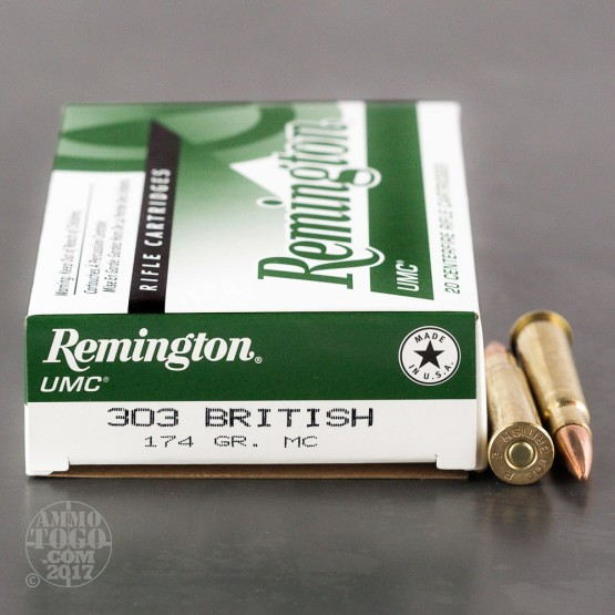 20rds - 303 British Remington UMC 174gr. Metal Case Ammo