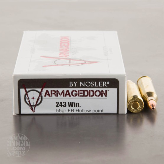 20rds - 243 Win Nosler Varmageddon 55gr. Flat Base Hollow Point Ammo