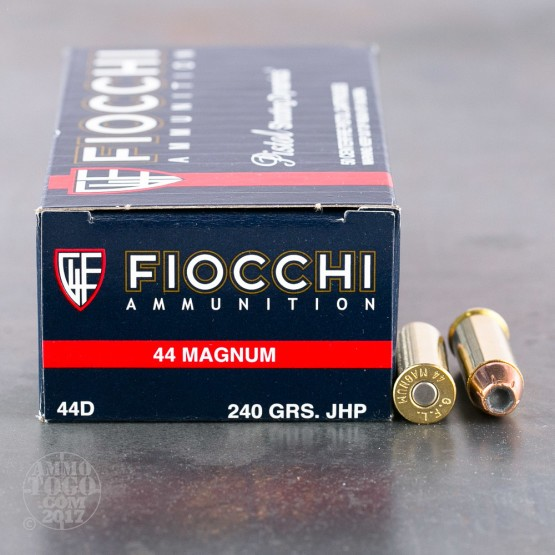 50rds - 44 Mag Fiocchi 240gr Jacketed Hollow Point Ammo