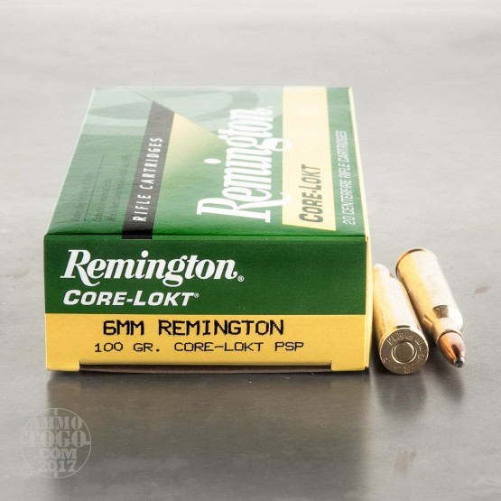 20rds - 6mm Remington 100gr. Core-Lokt Pointed Soft Point Ammo