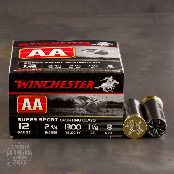 """250rds - 12 Gauge Winchester AA Sporting Clays 2-3/4"""" 1-1/8 Ounce #8 Shot Ammo"""