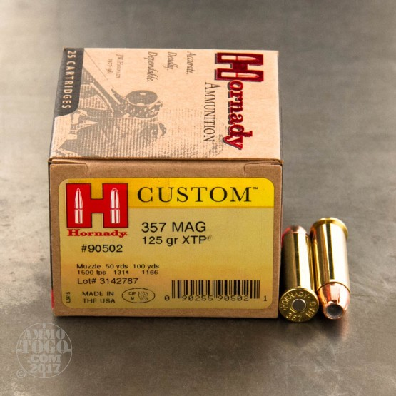 25rds - 357 Mag. Hornady 125gr. XTP Hollow Point Ammo