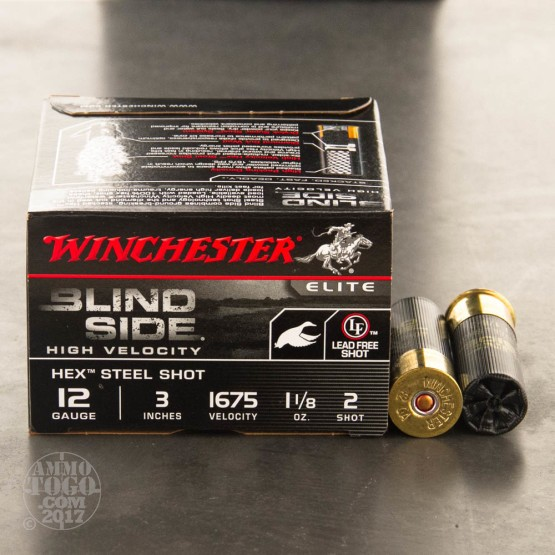 "25rds - 12 Gauge Winchester Blind Side 1 1/8 Ounce 3"" #2 Hex Steel Shot Ammo"