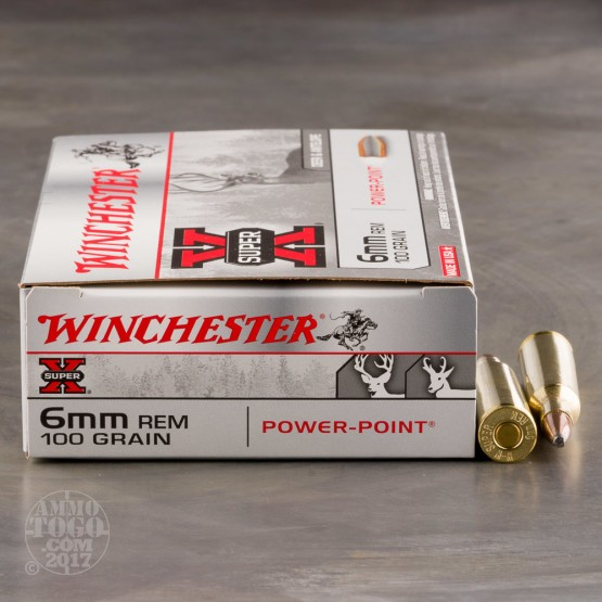 20rds - 6mm Rem. Winchester Super-X 100gr Power Point Ammo