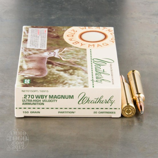 20rds - 270 Weatherby Mag. 150gr. Nosler Partition Ammo