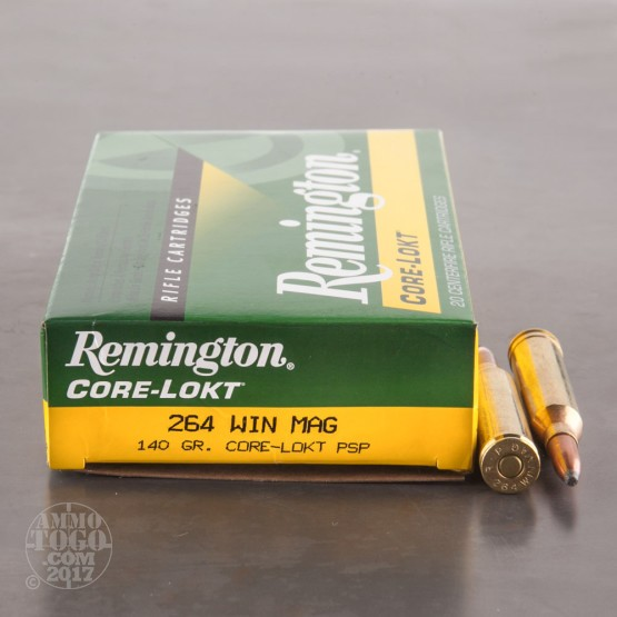 20rds - 264 Win. Mag. Remington Core-Lokt 140gr. Pointed Soft Point Ammo
