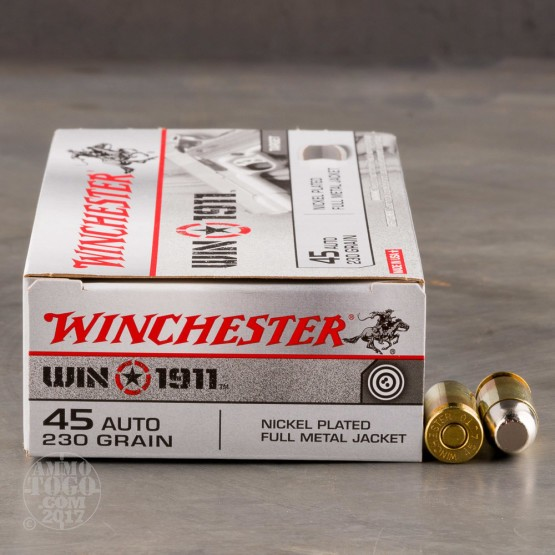 50rds - 45 ACP Winchester Win1911 230gr. FMJ Ammo