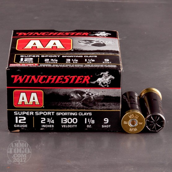 """25rds - 12 Gauge Winchester AA Sporting Clay 2 3/4"""" 1 1/8 Ounce  #9 Shot Ammo"""