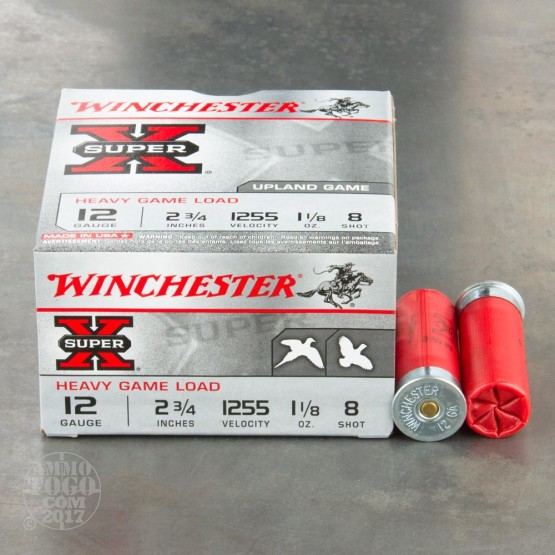 "25rds - 12 Gauge Winchester Super-X Upland Heavy Game Loads 2 3/4"" 1 1/8oz. #8 Shot Ammo"