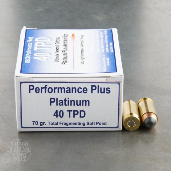 20rds - 40 S&W RBCD Performance Plus Tactical Personal Defense 70gr Total Fragmenting Soft Point Ammo