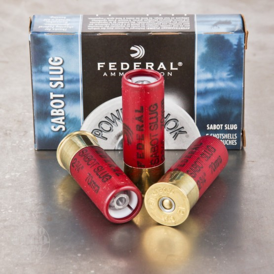 "5rds - 12 Gauge Federal Power-Shok 2 3/4"" 1oz. Sabot Slug Ammo"