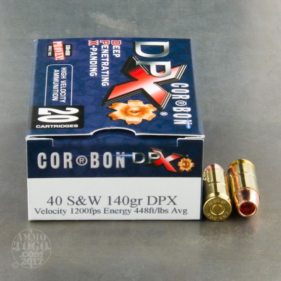 20rds - 40 S&W Corbon DPX 140gr. HP Ammo