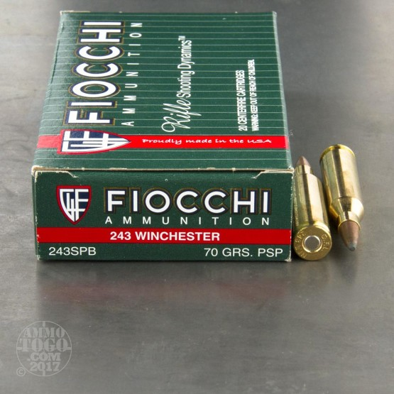 20rds - 243 Win. Fiocchi 70gr. Pointed Soft Point Ammo