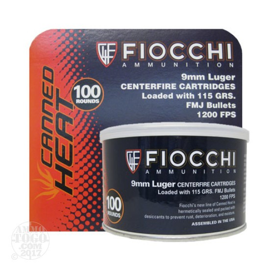 1000rds - 9mm Fiocchi Canned Heat 115gr Full Metal Jacket Ammo