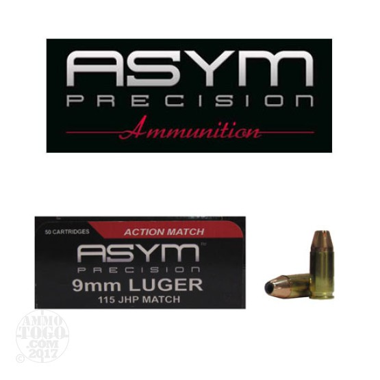 50rds - 9mm ASYM 115gr. JHP  Action Match Ammo