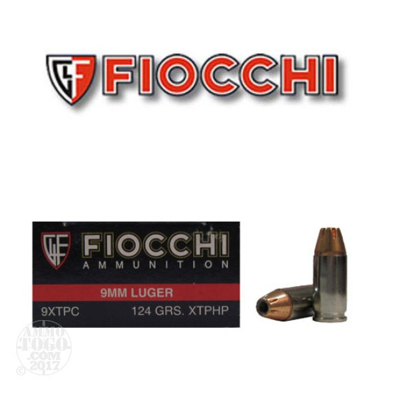 50rds - 9mm Fiocchi 124gr XTP Jacketed Hollow Point Ammo