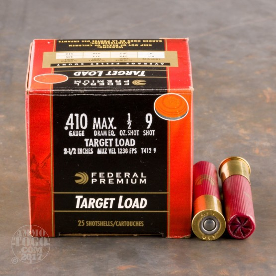 "250rds - 410 Gauge Federal Gold Medal 2 1/2""  1/2oz. #9 Shot Ammo"