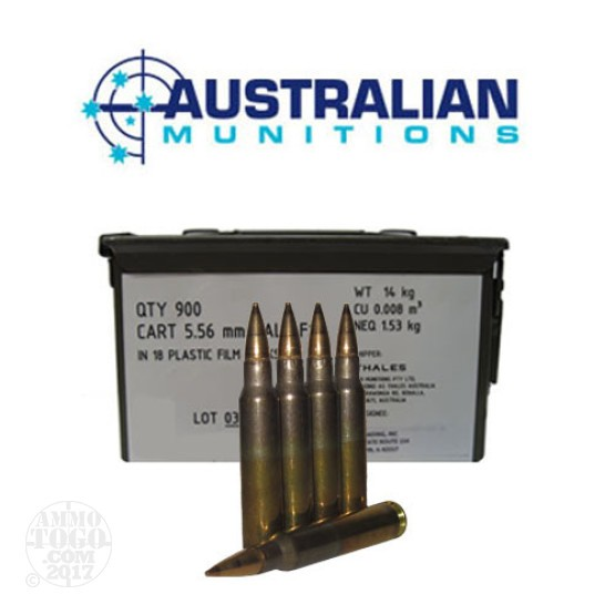 900rds - 5.56 NATO ADI 62gr. SS109 F1 Ball Ammo in Film Packs With Ammo Can
