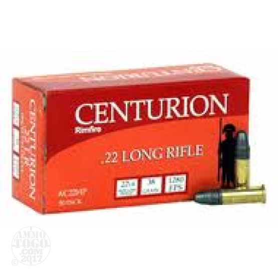 50rds - 22LR Centurion High Velocity 38gr. Hollow Point Ammo