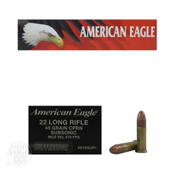 500rds - 22LR Federal American Eagle Suppressor 45gr. CPRN Subsonic Ammo