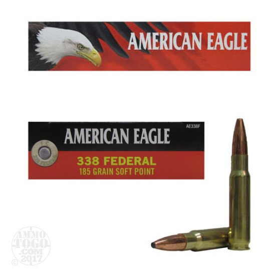 20rds - 338 Federal American Eagle 185gr. Soft Point Ammo