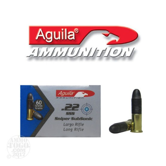 5000rds - 22LR Aguila Sniper Sub-Sonic 60gr. Solid Point Ammo
