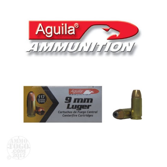 1000rds - 9mm Aguila 117gr. Jacketed Hollow Point Ammo