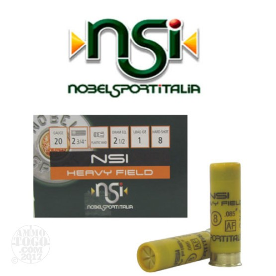"250rds - 20 Gauge NSI Heavy Field 2 3/4"" 2 1/2 Dram 1oz. #8 Shot Ammo."