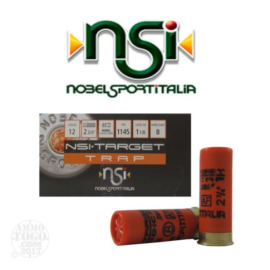 "250rds - 12 Gauge NSI Trap 2 3/4"" 2 3/4 Dram 1 1/8oz. #8 Shot Ammo"