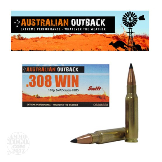 20rds - .308 Win Australian Outback 150gr. Swift Scirocco-II BTS Polymer Tip Ammo