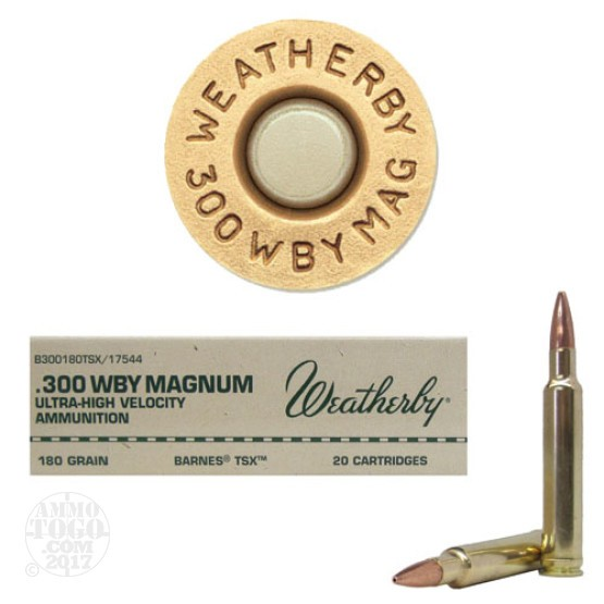 20rds - 300 Weatherby Mag. 180gr. Barnes TSX Hollow Point Ammo