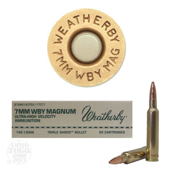 20rds - 7mm Weatherby Mag. 140gr. Barnes TSX Hollow Point Ammo