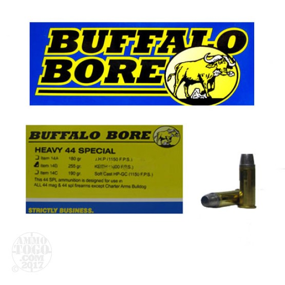 20rds - 44 Special Buffalo Bore Heavy 255gr. Keith Hardcast Semi-Wadcutter Ammo