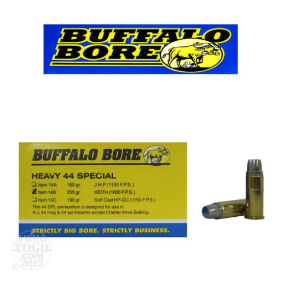50rds - 44 Special Buffalo Bore Heavy 255gr. Keith Hardcast Semi-Wadcutter Ammo