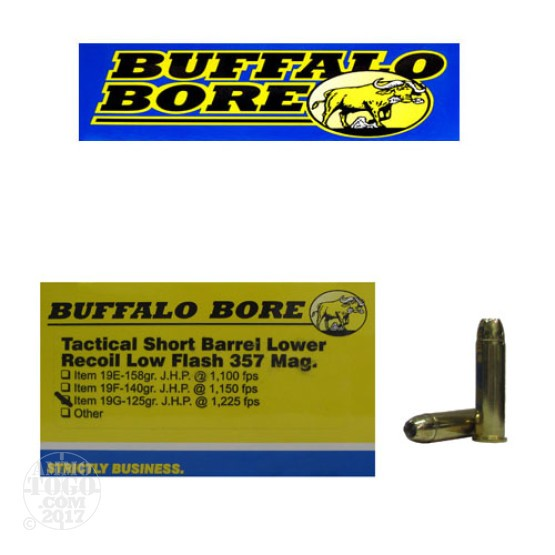 20rds - 357 Mag Buffalo Bore 125gr. JHP Low Flash Short Barrel Ammo