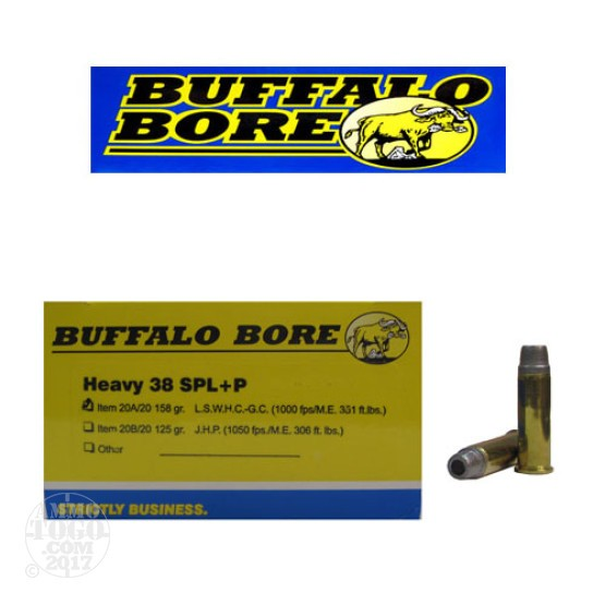 20rds - 38 Special Buffalo Bore 158gr. +P Lead Semi Wadcutter HP Ammo