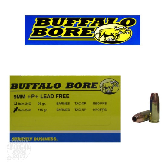 20rds - 9mm Buffalo Bore 115gr. TAC-XP +P+ Lead Free Ammo