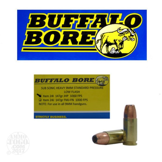 20rds - 9mm Luger Buffalo Bore Heavy Sub-Sonic 147gr. JHP Ammo